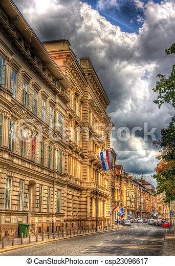 A building in the city center of Zagreb, Croatia - csp23096617