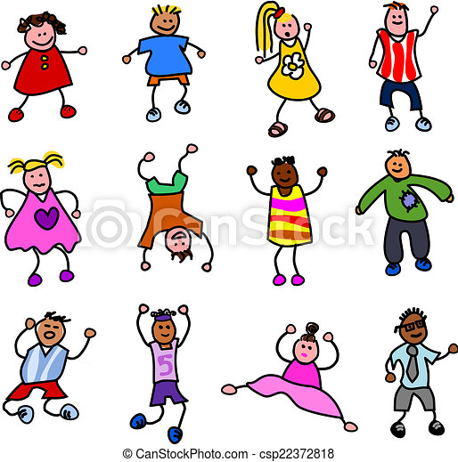 a bunch of kids cartoon stick children in various poses vector rh canstockphoto com stick kids clip art free stick kids clip art free