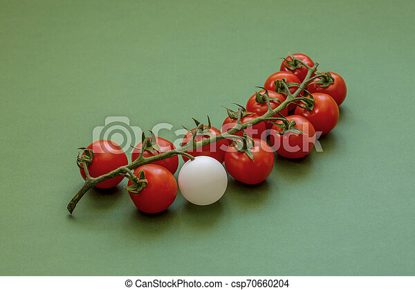 A bunch of ripe red cherry tomatoes with a white ball on a green background - csp70660204