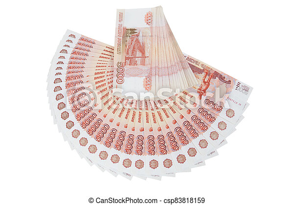 A bundle of banknotes of five thousand rubles - csp83818159