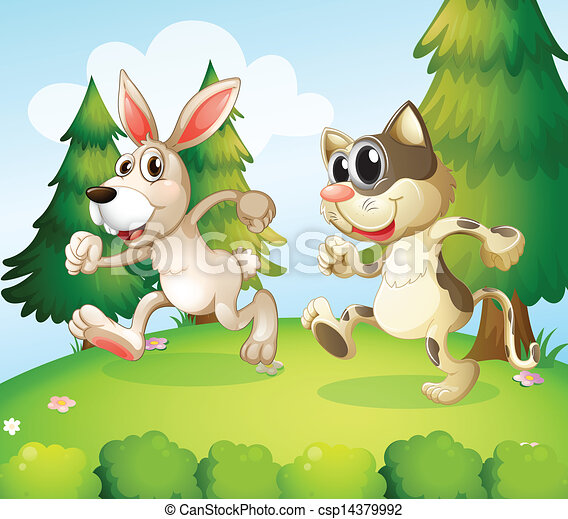 A bunny and a cat running above the hill  - csp14379992