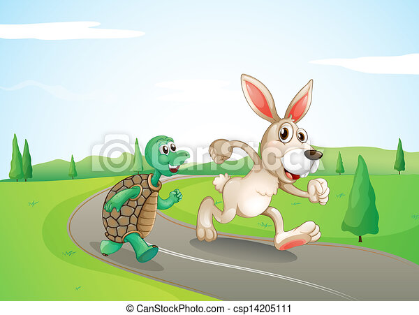 A bunny and a turtle running along the road - csp14205111