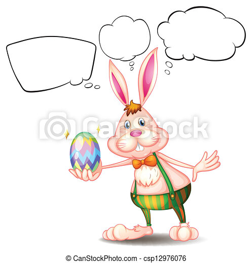 A bunny holding an egg with empty callouts - csp12976076
