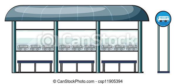 Bus Stop Public Transportation Cartoon Drawing Stock Illustration