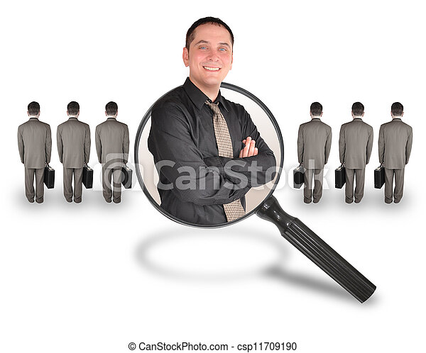 A business man is smiling inside of a magnifying glass. There are other business men turned and standing. Use it for a job search, employee candidate promotion or advantage concept. - csp11709190