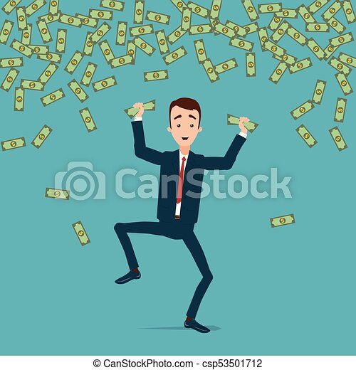 A businessman jumps and dances with joy in the rain of money. Money is crumpled in the hands - csp53501712