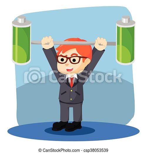 a businessman lifting batteries - csp38053539