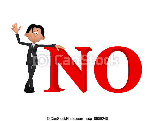 a businessman with a no 3d word drawing search clip art rh canstockphoto com