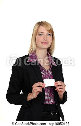 A businesswoman presenting her card. - csp10950137