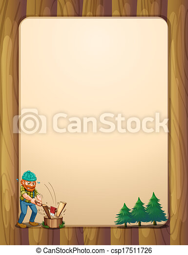 A busy lumberjack in front of the empty wooden template - csp17511726