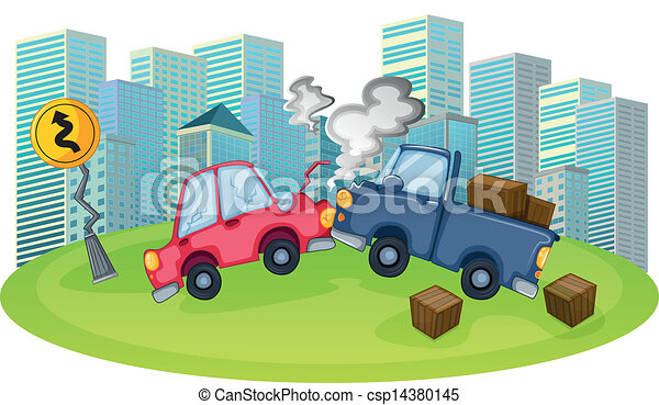 A car accident in front of the high buildings - csp14380145