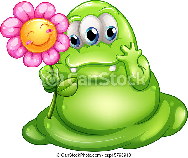 A caring greenslime monster - csp15798910
