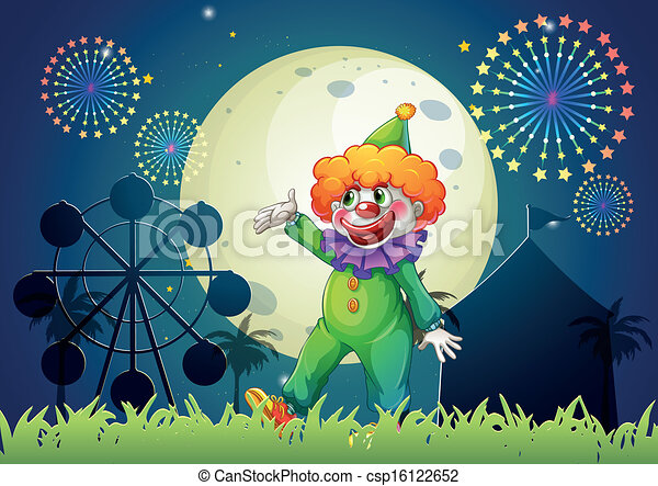 A carnival with a funny clown - csp16122652