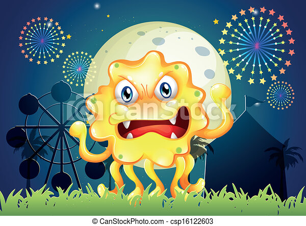 A carnival with a scary yellow monster - csp16122603