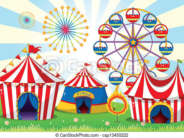 A carnival with stripe tents - csp13450222