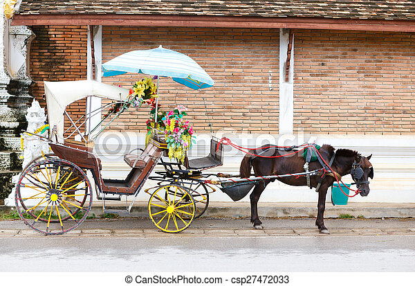 A Carriage with black horse - csp27472033