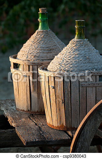 A cart loaded with wine bottles - csp9380043