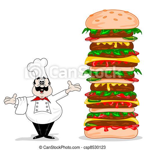 A cartoon chef with cheeseburger - csp8530123