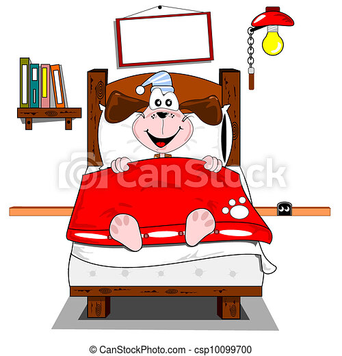A cartoon dog in bed - csp10099700