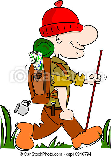 a cartoon hiker rambler going camping with rucksack and stick rh canstockphoto com cartoon hiker images cartoon hiking images