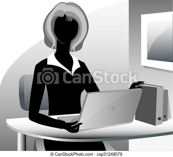 A cartoon secretary wearing a suit - csp31249079