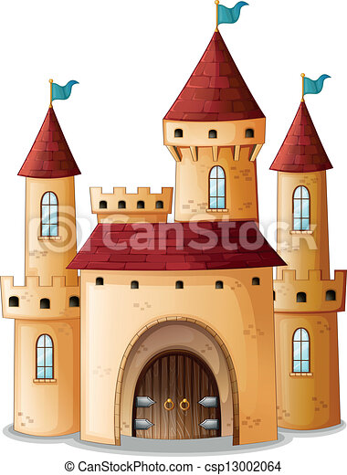 A castle with three blue flags - csp13002064