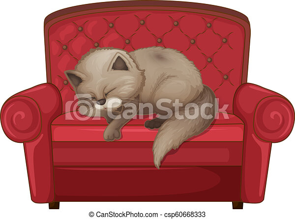 A cat sleeping on the sofa - csp60668333