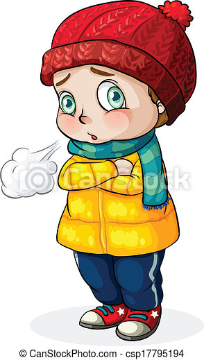 illustration of a caucasian baby feeling cold on a white eps rh canstockphoto com cold clipart png clipart cold weather