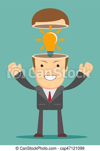 A Caucasian businessman has a bright idea - csp47121099