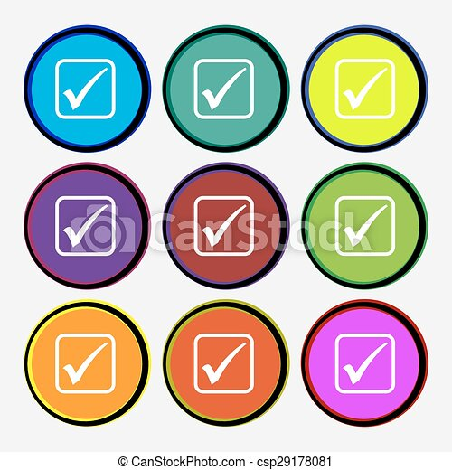 A check mark icon sign. Nine multi colored round buttons. Vector - csp29178081
