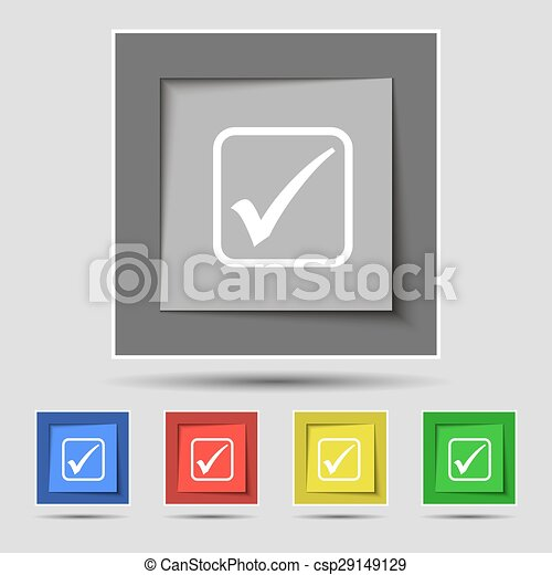 A check mark icon sign on original five colored buttons. Vector - csp29149129