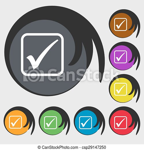 A check mark icon sign. Symbol on eight colored buttons. Vector - csp29147250