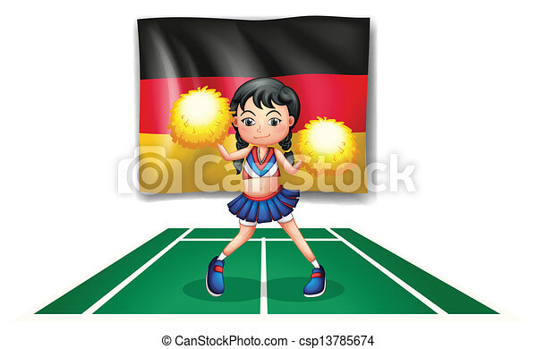 A cheerleader in front of the German flag - csp13785674