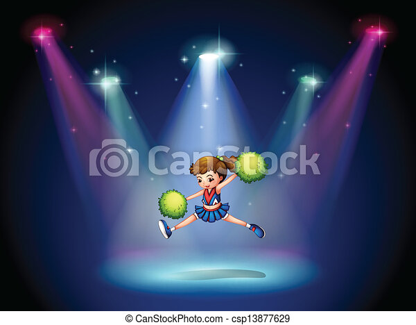 A cheerleader jumping on the stage with spotlights  - csp13877629