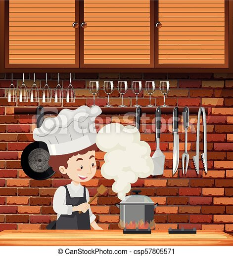 A Chef Cooking in Kitchen - csp57805571