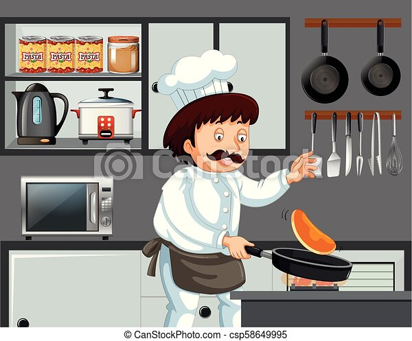 A Chef Cooking Pancake in Kitchen - csp58649995