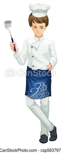 A Chef holding a kitchen utensil - csp56379750