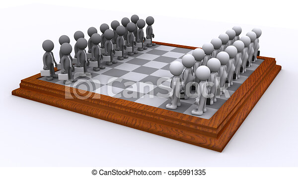 A Chess board of Business people. Business strategy concept - csp5991335