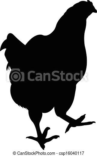 a chicken silhouette vector  - csp16040117