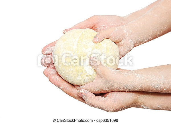 A child is helping mom to knead the dough for baking - csp6351098