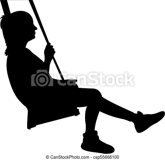 a child swinging, silhouette vector - csp55666100