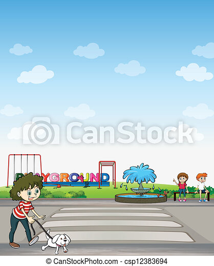 A child with her dog across a playground - csp12383694
