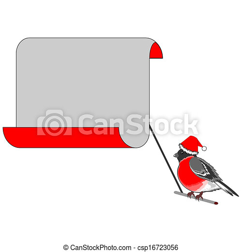 A Christmas bullfinch with a big blank paper for congratulations. Vector-art illustration on a white background - csp16723056