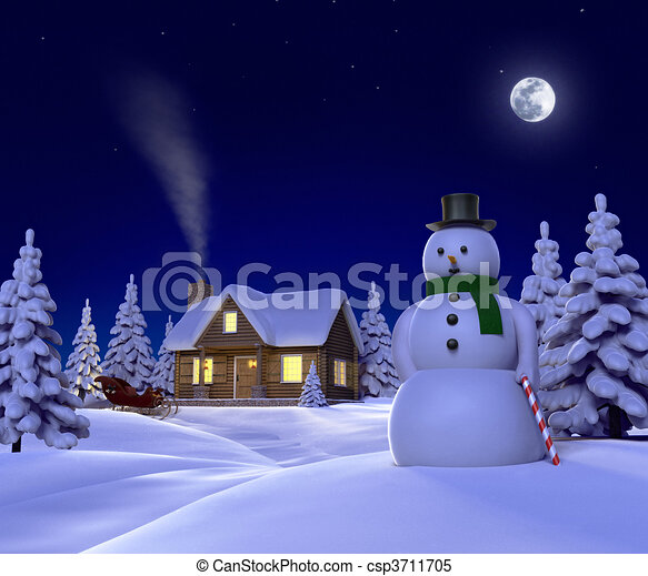 A christmas themed snow  cene showing Snowman, Cabin and snow sleigh at night - csp3711705