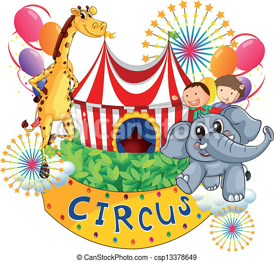 A circus show with kids and animals - csp13378649