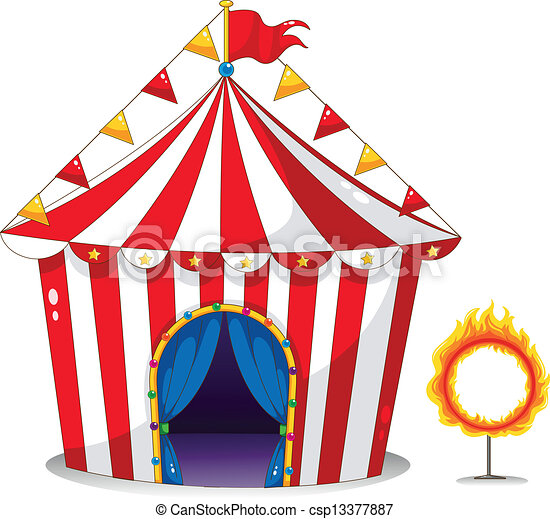 A circus tent beside a ring of fire  - csp13377887