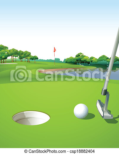 illustration of a clean and green golf course vector clipart rh canstockphoto com golf club clipart images golf course clip art free