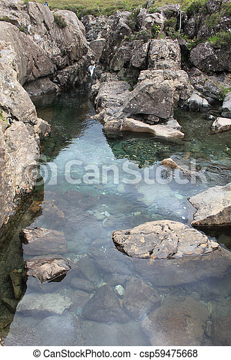 A clear pool with a rocky bottom on a cloudy day - csp59475668