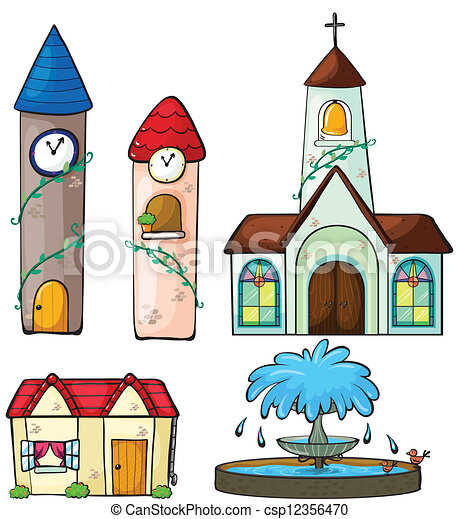 A clock tower, church, house and fountain - csp12356470