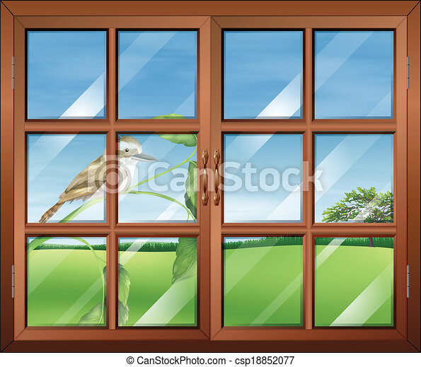 Illustration of a closed window with a bird outside vectors